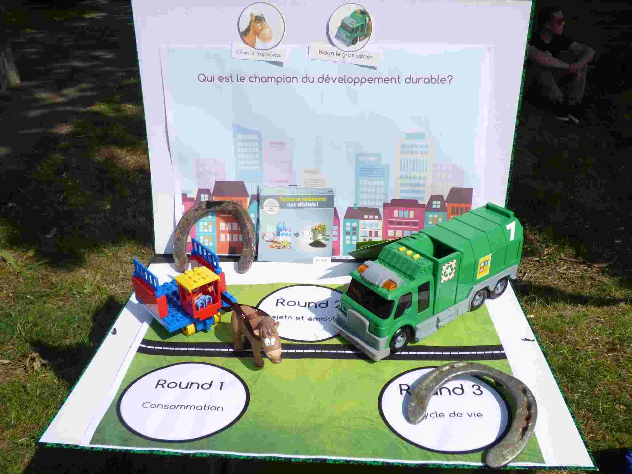 Léon le trait breton versus Bidon le gros camion. Qui est le champion du développement durable?